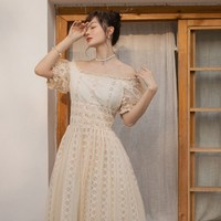 Summer Women Korea Japan Sexy Slash Neck Long Dress Lace Puff Sleeve Fairy Maxi Dress Vintage Mesh Bowknot Princess Dress