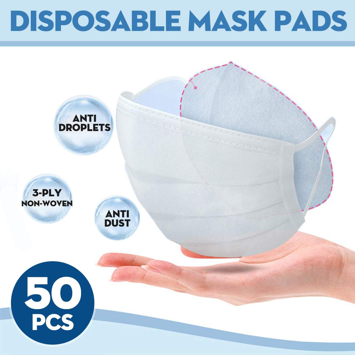 50PCS Disposable Mask Respirator 3 Layers Filter Pad Anti Smog Anti Flu Prevention For Kf94 N95 KN95 Ffp3 2 1 All Face Mask