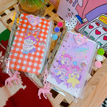 1 Pcs New A6 PVC Diary Book Small Fresh Notebook Simple Cartoon Sequin Travel Plan Little Girl
