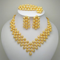 Kingdom Ma Gift Fashion Clear Crystal Gold Color African Bridal Costume Jewelry Sets Nigerian Wedding Jewelry Sets