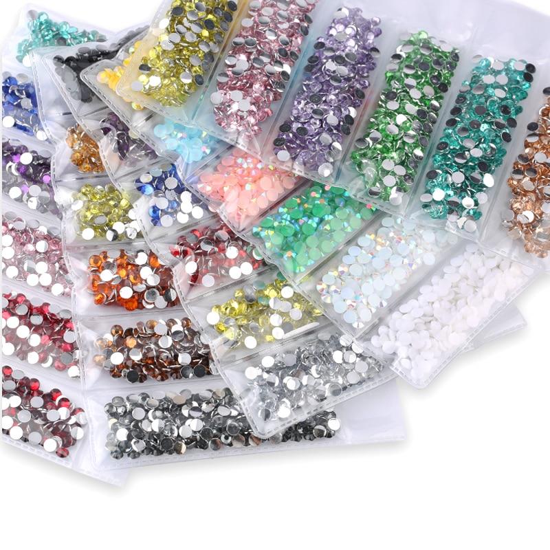 Jelly Cristal Blanco AB múltiples facetas de resina de plano posterior Rhinestone 2 3 4 5 6 Mm