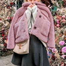Simplee Elegante Vrouwen Roze Faux Bontjas Herfst Winter Zachte Vrouwelijke Jas Jas Lange Mouwen Casual Dikke Uitloper Dames Jas
