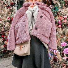 Simplee zarif kadınlar pembe faux kürk ceket sonbahar kış yumuşak kadın ceket ceket uzun kollu rahat kalın dış giyim bayan ceket