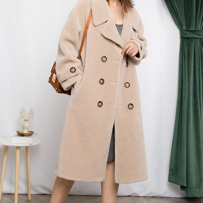 Wool 100% Coat Female Sheep Shearling Fur Long Coats 2020 Winter Jacket Women Lamb Fur Jackets Suede Lining MY3706 S S