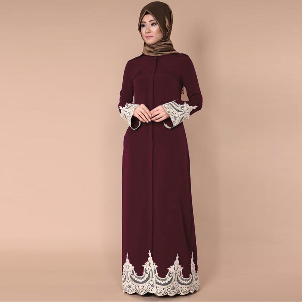 Muslim Women Lace Trimmed Front Abaya Muslim Women's Abaya