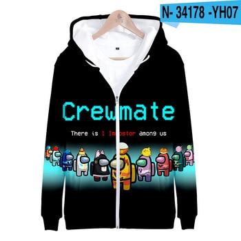 Hot Game Among Us 3D Hoodies Sweatshirts Boys/Girls Fashion Zipper Clothes Autumn Winter Kids Cute Streetwear Oversized Coats