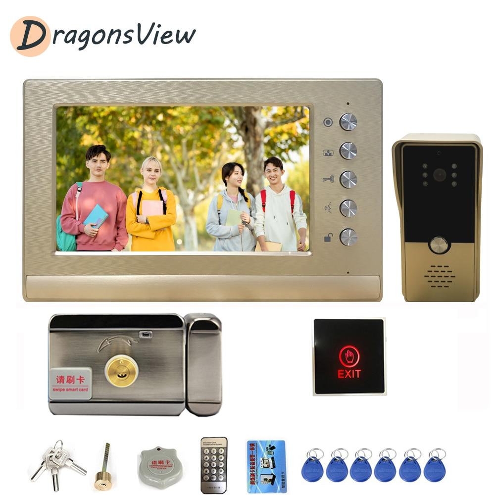 Dragonsview Video Intercom With Lock Video Interphone IR Vision Doorbell Camera 7 Inch Door Phone Entry Security System Kit