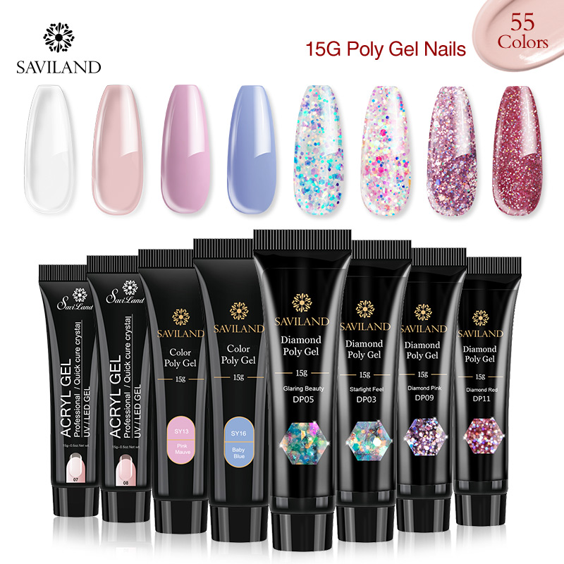 Saviland 15g Color PolyGel Finger Extension Glitter Poly Gel Nail Gel Colors Diamond UV Building Gel Polish Fast Builder Gel