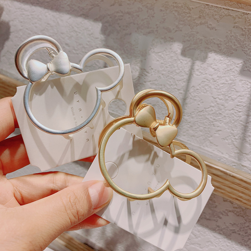 Disney Minnie Doll Accessories New Metal Matte Temperament Mickey Mouse Hollow Flower Grab Clip Hair Clip