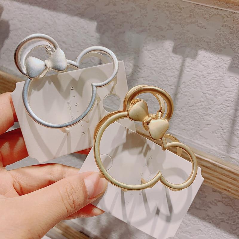 Disney Minnie Doll Accessories New Metal Matte Temperament Mickey Mouse Hollow Flower Grab Clip Hair Clip