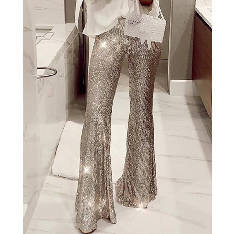 Women Sexy Glitter High Waist Bell-bottomed Sequins Pants