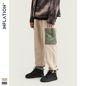 Image 1 - Мужские спортивные штаны с карманами INFLATION, серые свободные штаны прямого покроя в уличном стиле, 93440 вт, модель 2020 года