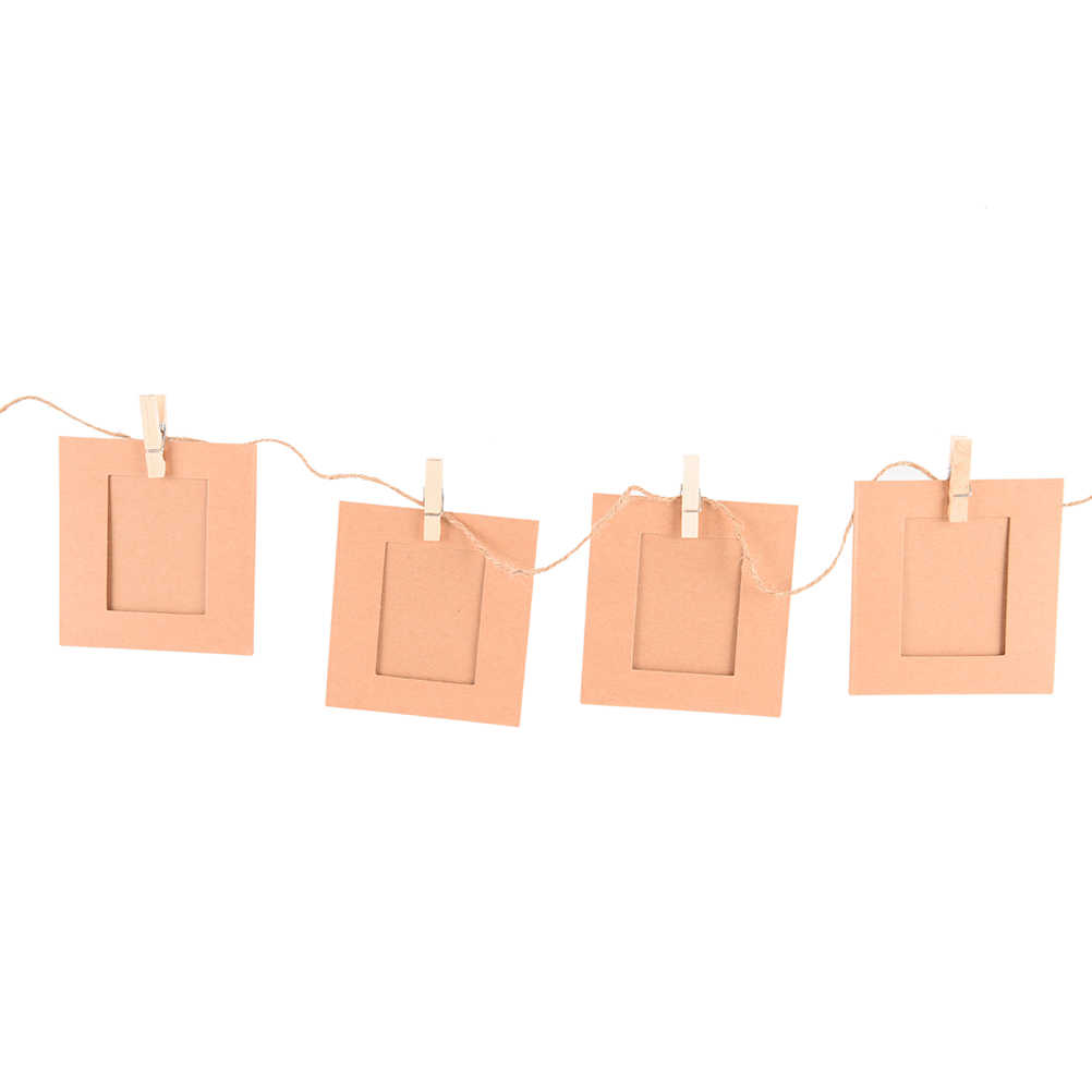 10PCS 3 Inch 3 Colors Paper Frame Photo Frame with Clips and Rope Combination DIY Wall Hanging Picture Album Home Decoration