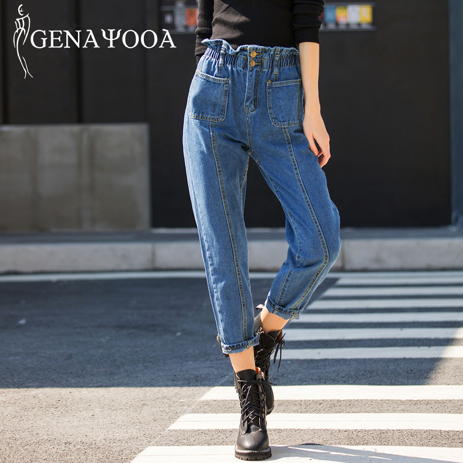Genayooa High Quality Jeans For Women Mom Jeans High Waist Jeans Woman Plus Size 5XL Harem Pants Trousers Woman 2019 Korean
