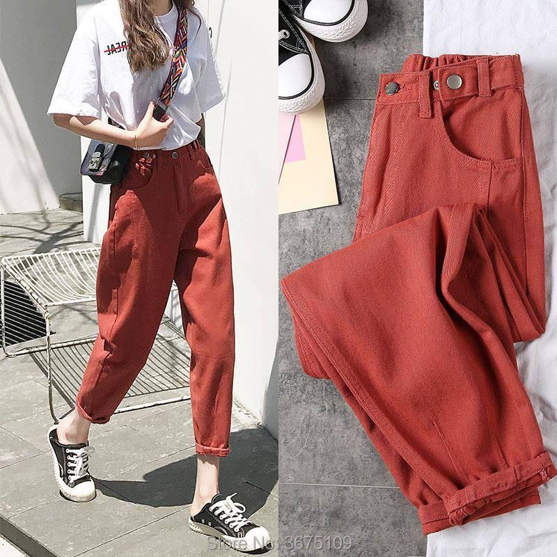 Oversize High Waist Jeans Elastic Loose Korean White Jeans Boyfriend Pants Women Plus Size Oversized Jeans Woman Trousers 2020