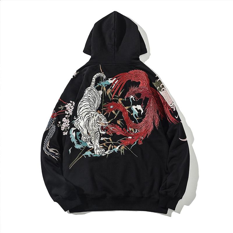 Chinese style Yokosuka Ukiyo-e embroidery dragon and tiger personality plus velvet hooded jacket casual hoodie men's clothing