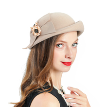 New Womens Fashion fedoras Church Hat Winter Creamy-white  Fascinator Wool Prom Cap Butterfly Flower Decoration Tea Party Hats