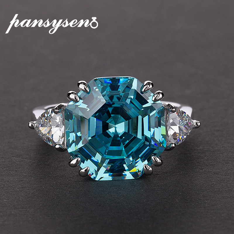 PANSYSEN Authentic 925 Sterling Silver Aquamarine Created Moissanite Gemstone Rings for Women wedding party Fine Jewelry Ring
