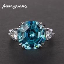 PANSYSEN Authentic 925 Sterling Silver Criado Moissanite Gemstone Aquamarine Anéis para festa de casamento Mulheres Anel de Jóias Finas