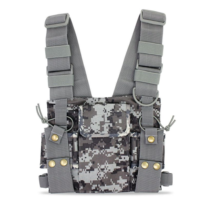 Radios Pocket Radio Chest Harness Chest Front Pack Pouch Holster Vest Rig Carry Case For 2 Way Radio Walkie Talkie For Baofeng