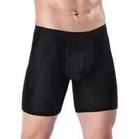 Calzoncillos Bóxer largos para hombre, ropa interior Sexy, pantalones cortos, bragas de Modal, ropa interior