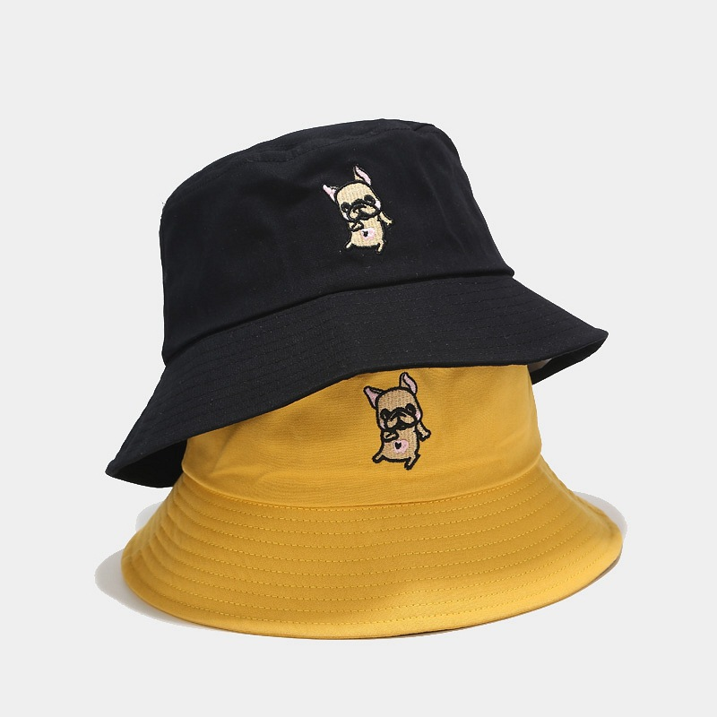 2020 Hat Women Spring Summer Korean Cartoon Embroidered Fisherman Bucket Hat Female Wild Thin Face Sun Visor Tide Basin Caps
