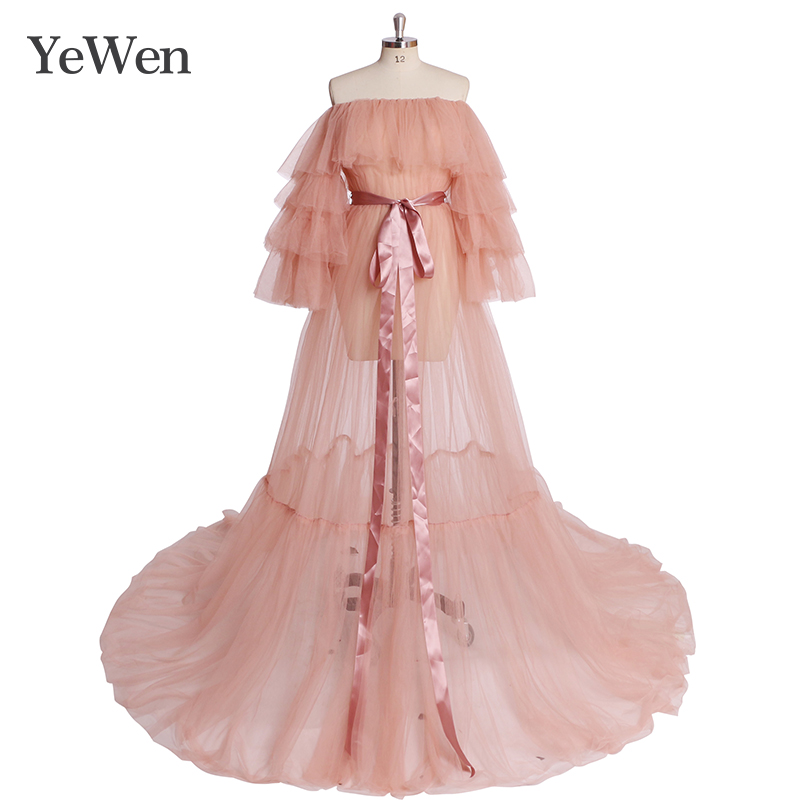 Yewen Evening-Dresses Formal Long Pink Women Empire Tulle Off-Shoulde New YW1918