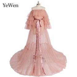 Розовые вечерние платья, длинные женские платья с открытыми плечами, платья из тюля для выпускного вечера 2020, Новые Вечерние платья ywen YW1918