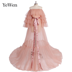 Pink Formal Evening Dresses Long Women Off Shoulde Empire Tulle Prom Dresses 2020 New Dress Party YeWen YW1918