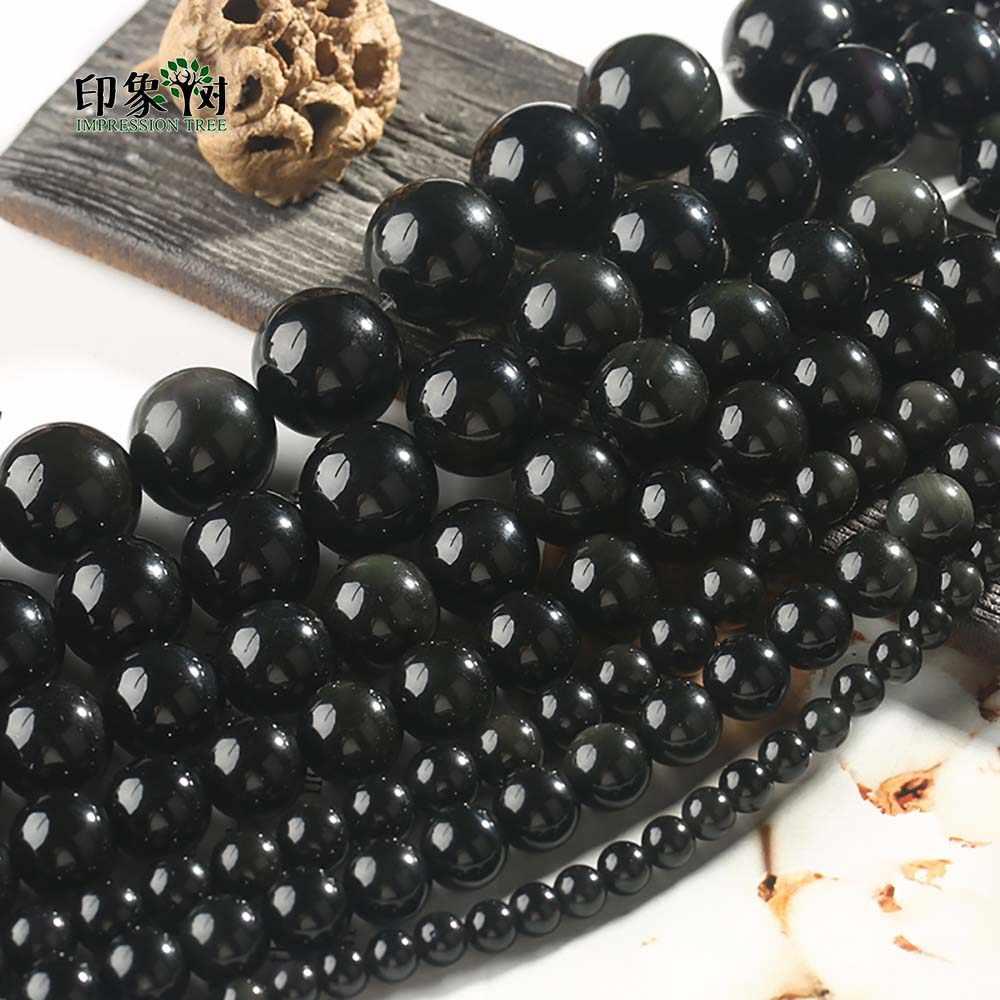 1Pc naturalne okrągłe czarne koraliki z obsydianu gładka czarna okrągłe koraliki 6 8 10 12 14mm dla DIY wyrób biżuterii bransoletka naszyjnik 1890