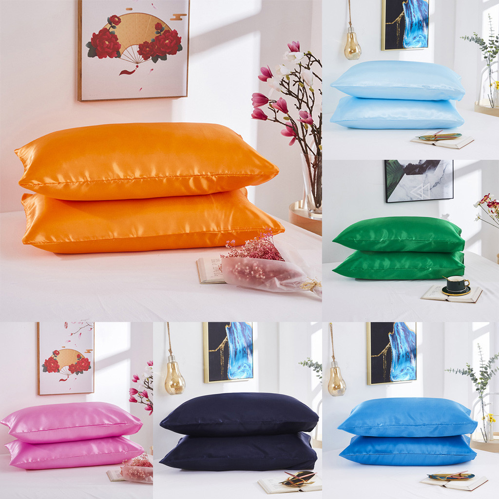 2PCS Simple Pillowcase Satin Silk Solid Color Bedding Smooth Texture Envelope Closure Pillow Case Reduces Hair