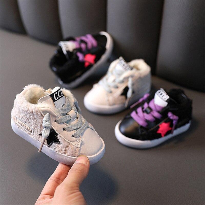 Детские кроссовки со звездами, теплый плюшевый хлопок, модная зимняя обувь для первых прогулок, для начинающих ходить детей, 15-25