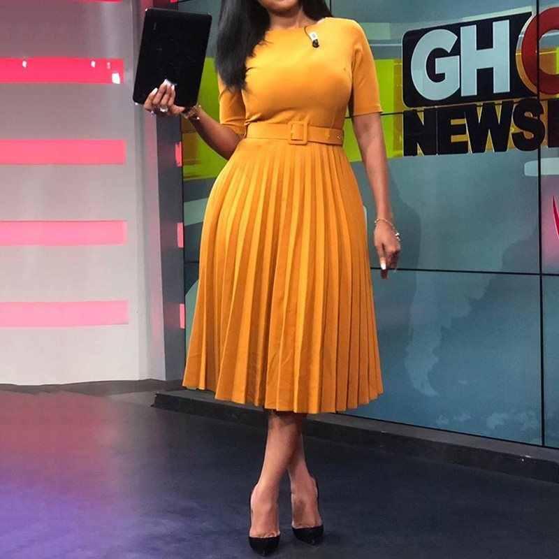 Estilo africano feminino casual com cinto vestido plissado elegante chique senhora do escritório a line vestido de cintura alta 2019 outono inverno moda