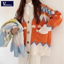 Vangull impressão de malha camisola feminina casaco casual plus size com decote em v único breasted cardigan bolsos soltos camisola feminina topos