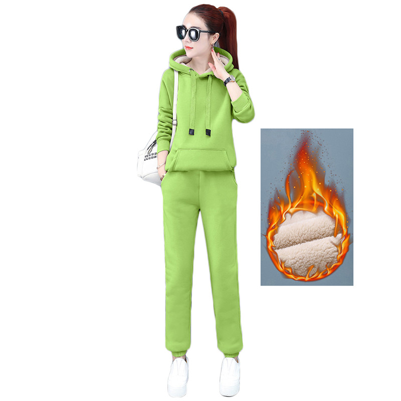 Two Piece Set Women Pink Black Green S-3XL Plus Size Hoodies And Pants 2 Piece Sets Autumn Winter Fashion Warmth Clothing LR312