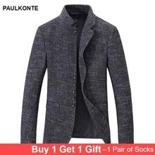 PAULKONTE Autumn Winter New Stand Collar Casual Men Suit Jacket High Quality Simple Elegant Zip Button Male Blazer
