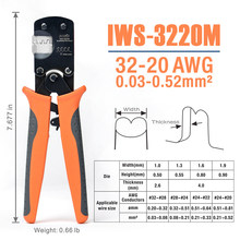 IWS-3220 Micro Connector Pin Crimping Tool Mini Ratcheting Crimper Plier 32-20AWG for D-Sub,Open Barrel Suits Molex,JST Terminal