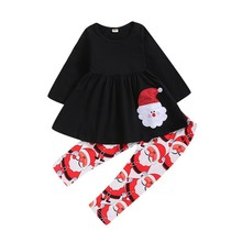 2019 Autumn Baby Girl Cotton Long Sleeve Christmas Santa Claus Print T-shirt Dress Trousers Toddler Casual Outerwear Clothes Set