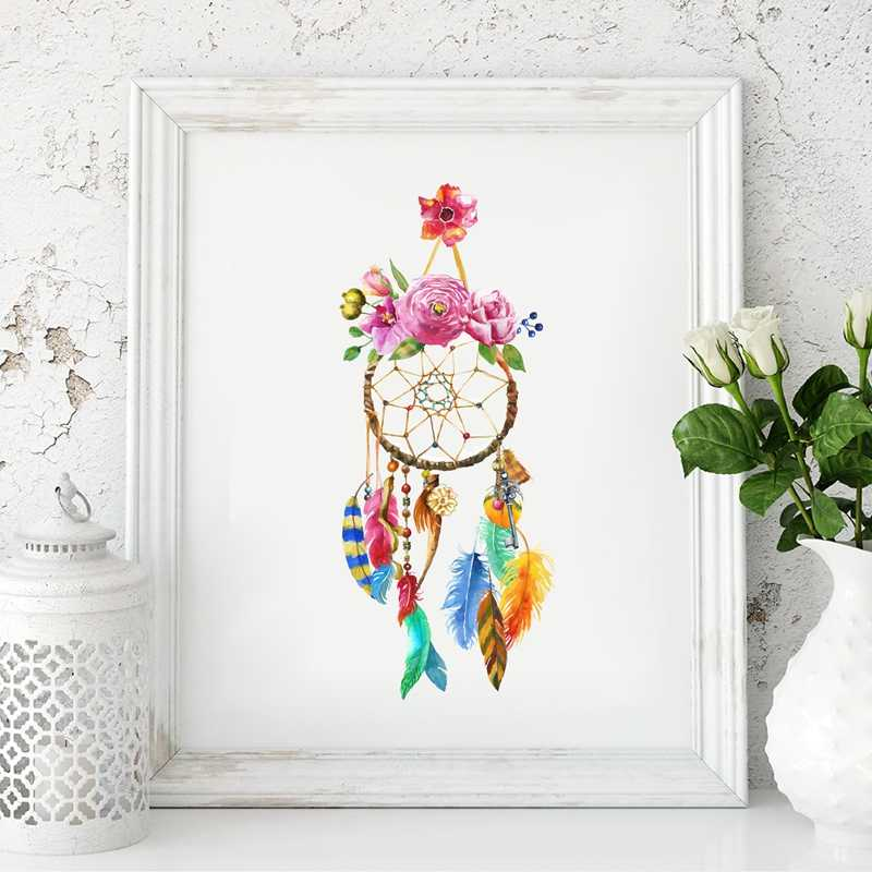 Dreamcatcher Veer Bloem Aquarel Art Canvas Schilderij Poster Prints Dream Catcher Boho Stijl Foto Slaapkamer Wall Art Decor