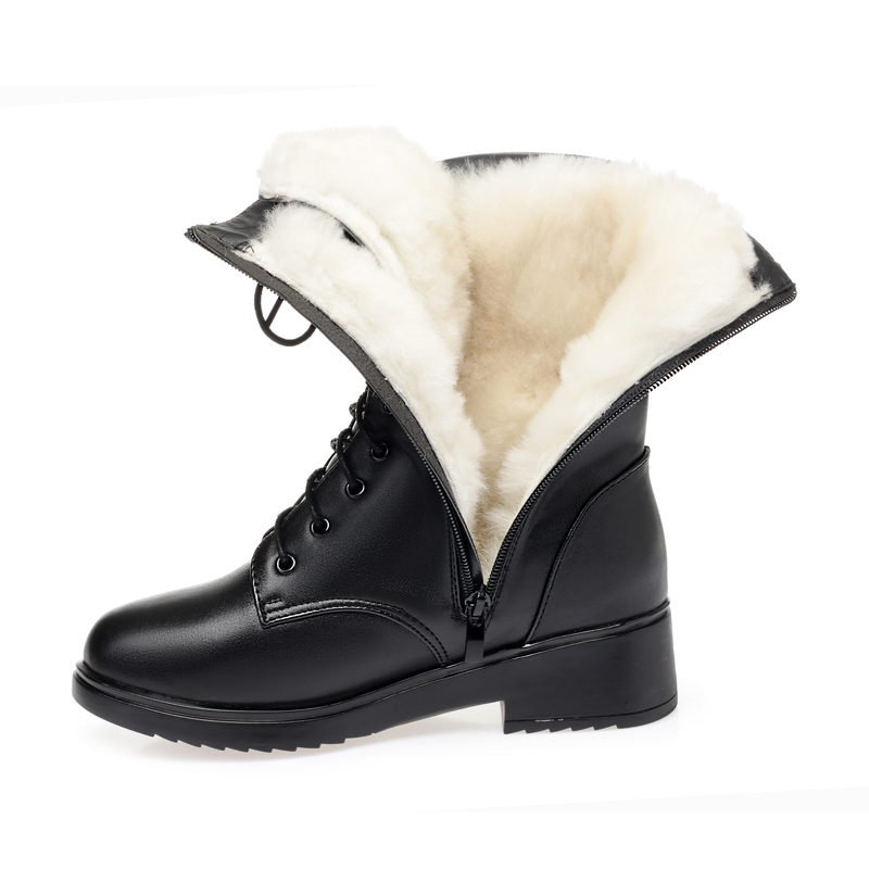 AIYUQI Women's winter shoes Genuine Leather Boots Women Military Large size 41 42 43 Casual Martin Boots Women  Snow Boots