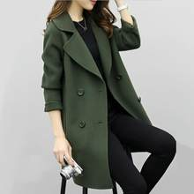 Double Breasted Ladies Long Sleeve Loose Suit Coat Jacket Women blazers Female Solid color long suit loose slim jacket(China)