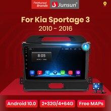 Junsun-Radio Multimedia V1 pro con GPS para coche, Radio con reproductor, DVD, Android 10, 2 GB + 128 GB, para Kia Sportage 3, 2010, 2011, 2012, 2007-2012, 2013