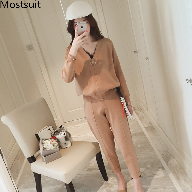 Korean Women Knitted 2 Piece Sets Outfits Long Sleeve Zip-up Cardigan And Pants Suits Ladies Fashion Elegant Two Piece Sets 2019