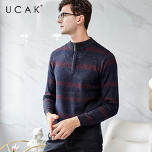 UCAK Brand Pure Merino Wool Sweater Male 2019 New Arrival Casual Autumn Winter Pull Homme Streetwear Warm Sweaters Clothes U3129