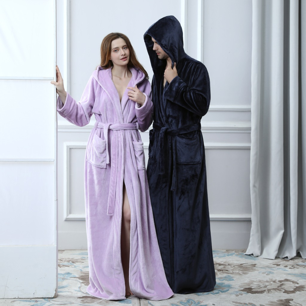 Women Mens Hooded Thicken Coral Fleece Robe Bathrobe Solid Luxury Kimono Cozy Robe Night Dressing Gown Women's Sleepwear z1023
