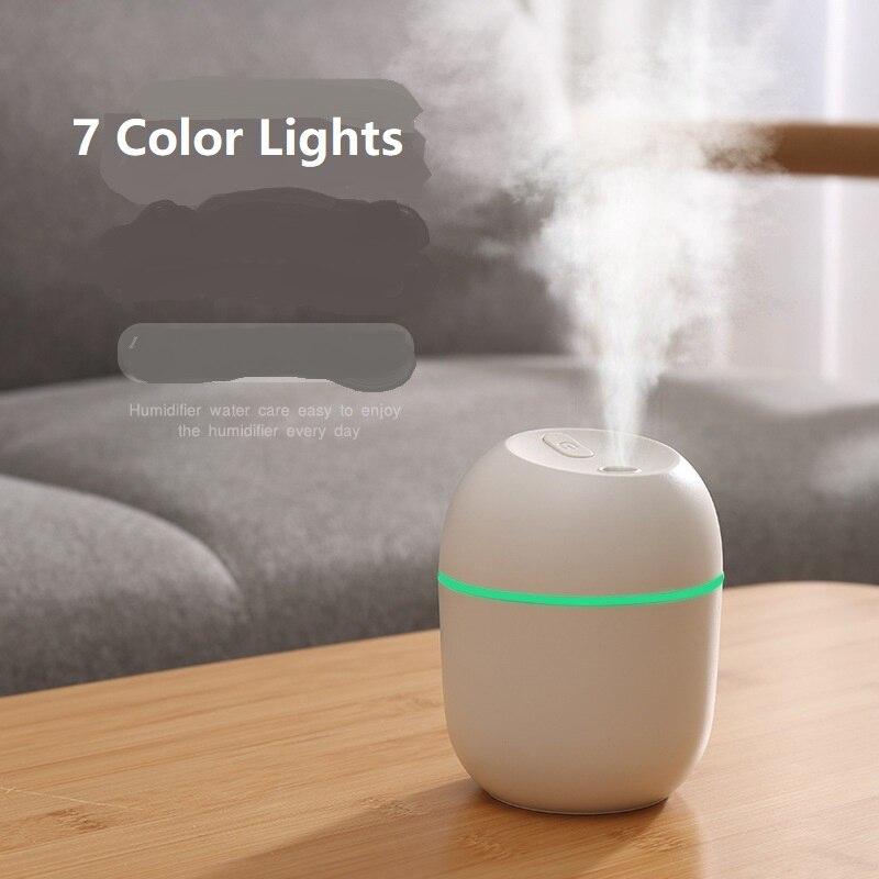 1 adet 220ML Mini ultrasonik hava nemlendirici aromalı uçucu yağ difüzör ev araba USB sisleyici Mist Maker ile LED gece lambası