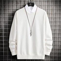 Cotton Hoodie Sweatshirts Men White Streetwear Hoodies Oversize Hip Hop Sweatshirt Men Clothing O Neck White Basic Hoodies 4XL