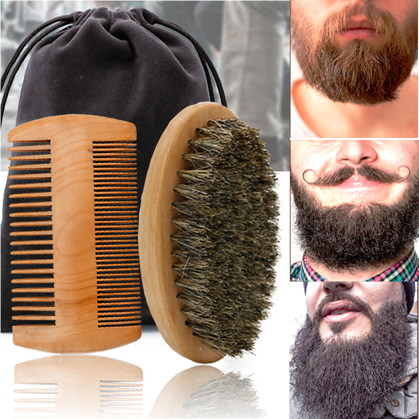High Quality Soft Boar Bristle Wood Beard Brush Hairdresser Shaving Tool Men Mustache Comb Kit With Gift Bag Beard Comb Set