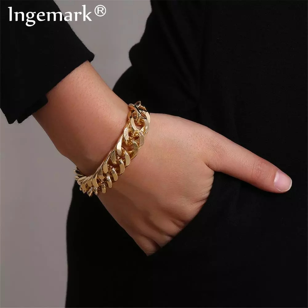 Ingemark-pulsera Cadena de serpiente cubana de Metal pesado para Mujer, brazalete con cierre grueso, estilo Punk, Miami