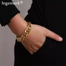 Ingemark Punk Miami Cuban Snake Chain Bracelet Bangle Accesorios Mujer Boho Heavy Metal Chunky Lock Bracelets for Women Jewelry